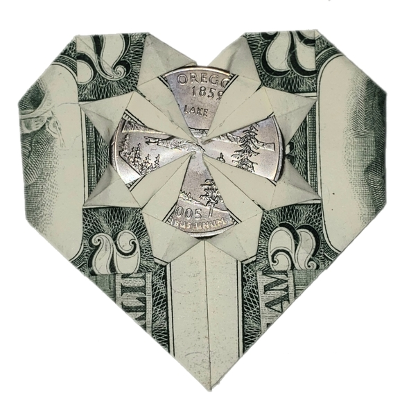 Dollar Bill Origami Heart with Flower | FaVe Mom | 580x580